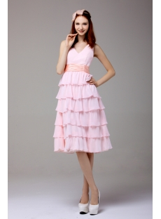 Pink Sweet Tea Length V-neckline Homecoming Dress