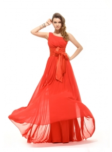 Plain Red Chiffon Cheap Evening Dress