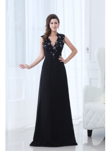 Plunge V-neckline Black Long Prom Dress with Keyhole for Mother of Groom