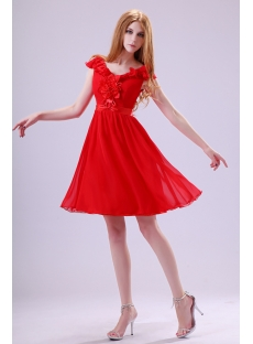 Popular Red Homecoming Dress with V-neckline