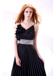 Pretty Black Spaghetti Straps Cocktail Dress for Large Size
