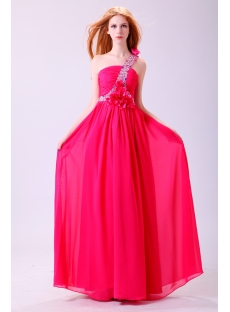 Pretty Chiffon One Shoulder Prom Dress Plus Size