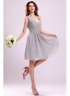 Pretty Gray Chiffon Bridesmaid Dress for Large Bust