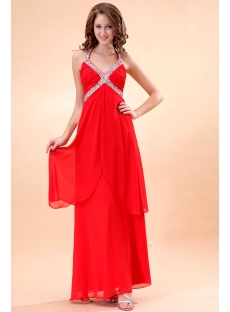 Pretty Halter Empire Long Evening Dress For Full Figure