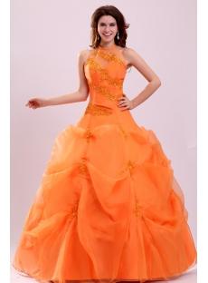 Pretty Halter Orange Organza Long 15 Quinceanera Dress
