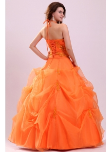 Pretty Halter Orange Organza Long 15 Quinceanera Dress