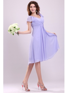 Pretty Lavender Butterfly Sleeves Short Plus Size Homecoming Dresses