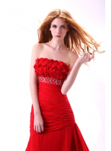 Pretty Red Chiffon Long Sheath Dama Dress
