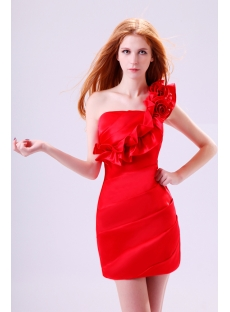 Pretty Red One Shoulder Graduation Party Gowns for Girls