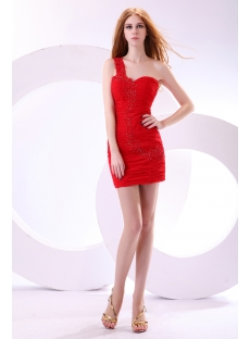Pretty Red One Shoulder Homecoming Dress