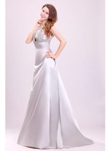 Pretty Silver Satin Open Back Wedding Dress