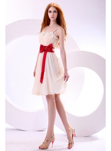 Pretty Spaghetti Straps Homecoming Dress with Red Satin Waistband