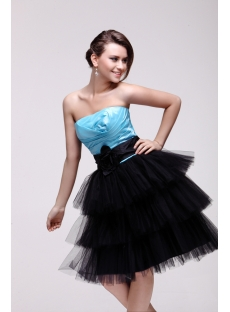Pretty Strapless Blue and Black Sweet 16 Dress