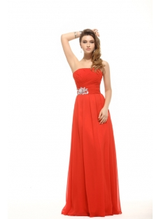 Pretty Strapless Red Chiffon Prom Gown