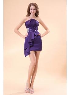 Purple Strapless Club Cocktail Dress