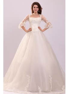 Queen Anne 1/2 Lace Sleeves Princess Ball Gown Wedding Dress