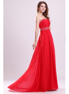 Red Chiffon Long Summer Plus Size Cocktail Dress