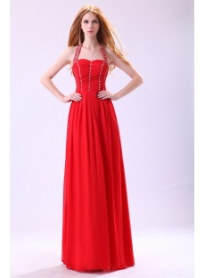 Red Halter Long Evening Dress for Petite Women