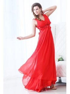 Red Illusion Back Maternity Prom Dress 2011