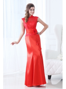 Red Lace High Neckline East Prom Dress
