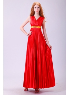 Red Long Pleats Plus Size Prom Dress