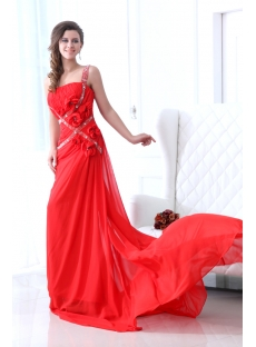 Red One Shoulder Formal Celebrity Dress with Train