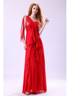 Red One Shoulder Fringed Bohemian Prom Dresses