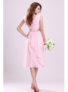 Romantic Chiffon Short V-neckline Bridesmaid Dress for Beach