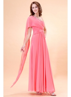 Romantic Coral Chiffon One Shoulder Celebrity Dresses