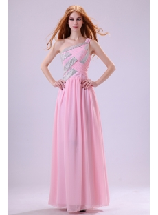 Romantic Pink Chiffon One Shoulder Party Dress
