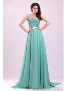 Romantic Sage Beaded Straps Soft Chiffon Plus Size Prom Dress