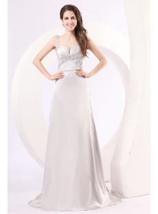 Romantic Silver Evening Dress with Sweetheart