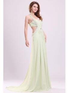 Sage Long Chiffon Sexy Party Dress