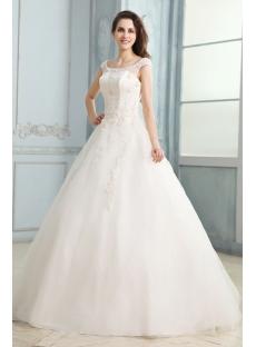 Scoop Modest Wedding Dress with Cap Sleeves
