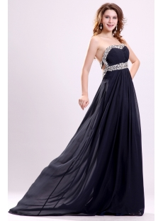 Sexy Black Soft Chiffon Open Back Maternity Cocktail Dress
