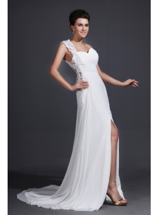 Sexy One Shoulder Chiffon Wedding Dress with Slit