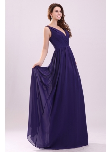 Sexy Plunge V-neckline Long Chiffon Evening Dress for Full Figure