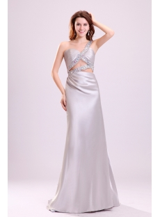 Sexy Silver One Shoulder Summer Beach Wedding Dress with Train