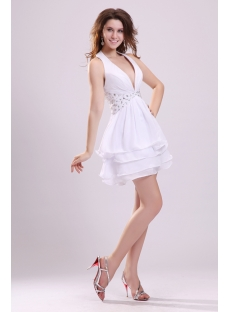 Sexy White Halter Mini Club Dresses with Open Back