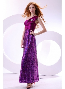 Shine Fuchsia Sequins Long One Shoulder Pretty Party Dress