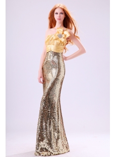 Shine Gold Sequins Sheath One Shoulder Evening Dress