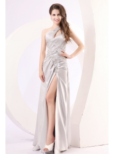 Silver One Shoulder Sheath Prom Dress with Slit