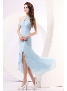 Simple Sky Blue Chiffon High-low Cocktail Dress