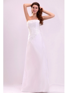 Simple Strapless Floor Length Informal Wedding Dress
