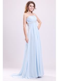 Sky Blue Chiffon Open Back Sexy Maternity Party Dress