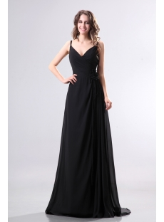 Spaghetti Straps Black Chiffon Prom Dresses for Large Size