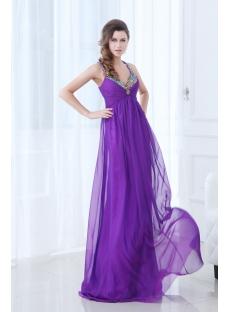 Spaghetti Straps Open Back Purple Plus Size Evening Dress for Beach