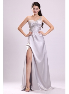 Sparking Silver One Shoulder Cocktail Gown with Slit