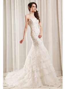 Spectacular Beaded Fishtail Wedding Dress with Corset