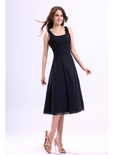 Square Chiffon Tea Length Little Black Dress